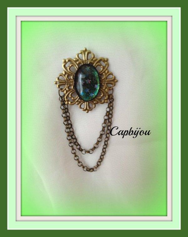Broche bronze perle étoilée
