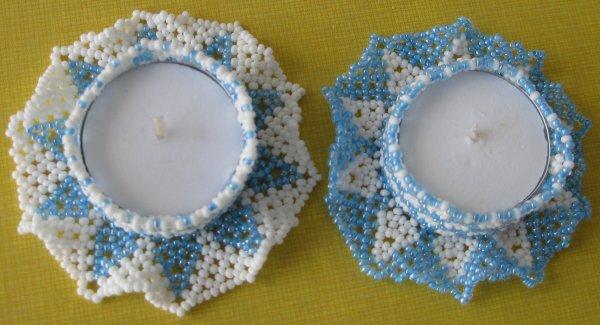 cache-bougie bleu et blanc
