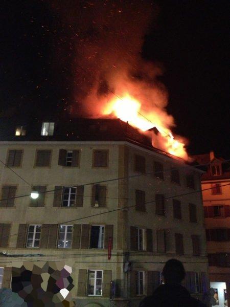 un incendie en ville !