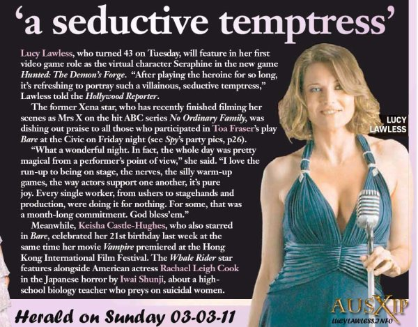 LUCY  LAWLESS  A  SEDUCTIVE  TEMPTRESS - HERALD  ON  SUNDAY  03  APRIL  2011