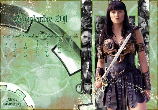 CALENDRIER  DE  XENA  DU  MOIS  DE  SEPTEMBRE  2011
