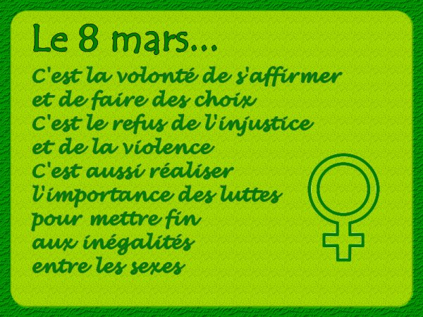 LE  8  MARS  JOURNÉE  INTERNATIONALE  DE  LA  FEMME
