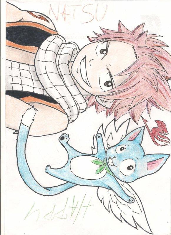 dessin de fairy tail (natsu et happy)