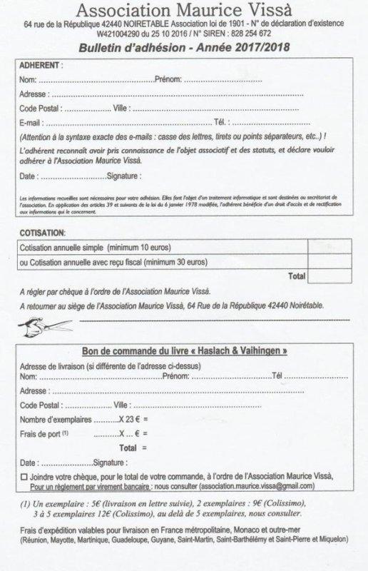 MAURICE VISSA  EX EMPLOYE DE VICTOR PERRIN ET RESISTANT DES VOSGES