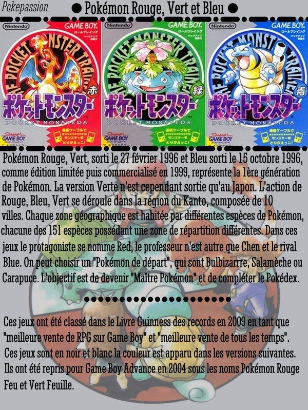 Pokémon Rouge, Vert et Bleu