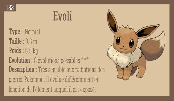 Evoli, Aquali, Voltali, Pyroli, Mentali, Noctali, Phyllali avec explication détaillée des évolutions (Partie I)