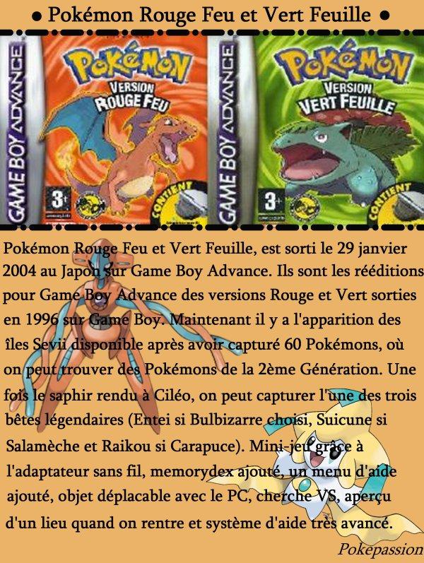 Pokémon Rouge Feu et Vert Feuille