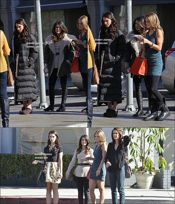 . 12/11/12 : Jessica Lowndes s'est montré resplendissante sur le set de « 90210 ».  Comme vous pouvez le voir sur les photos, Jessica Stroup, AnnaLynne McCord et Shenae Grimes étaient prèsentes. ♦ Hâtes ?  .