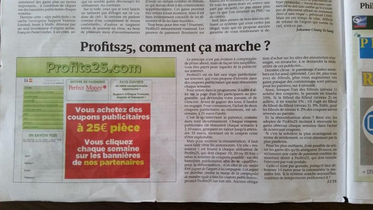 Profits 25 Régie publicitaire mondiale (Description)