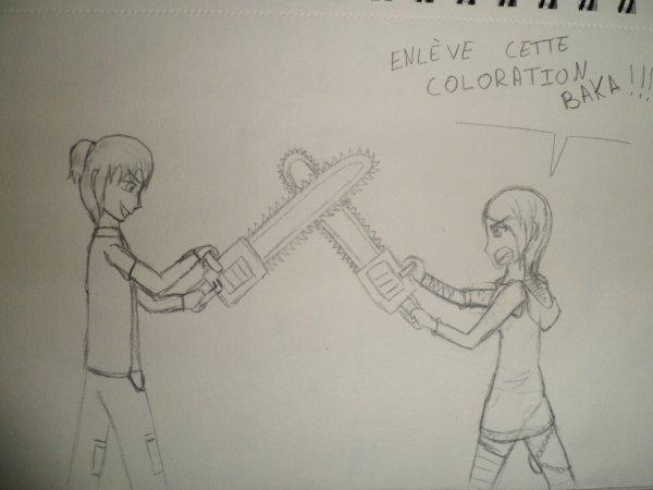 Combat de tronçonneuses : Elias vs. Alexiou-chan - Dessin