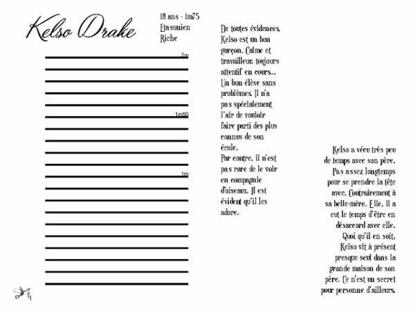 L'Amoureux des Oiseaux - Kelso Drake ( Fiche RP )