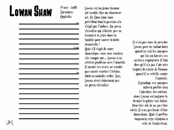 Le Domestique Indomestiqué - Lowan Shaw ( Fiche RP )