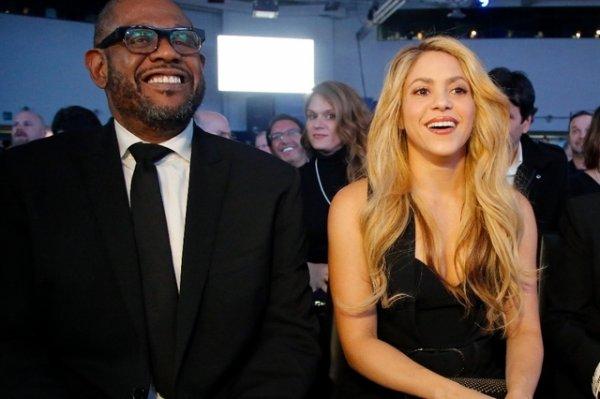 Shakira et Forest Withaker salués à Davos (Suisse)
