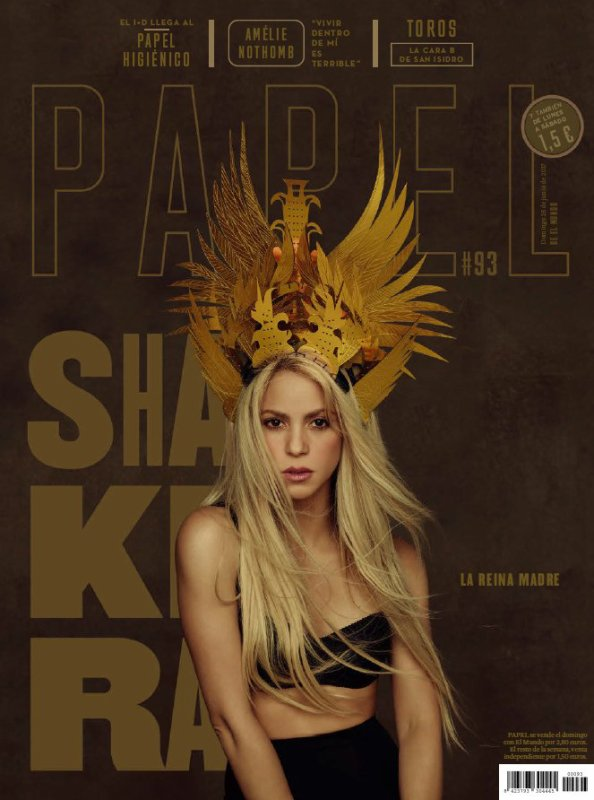 Shakira en couverture pour un magazine espagnol (édition Juin 2017)