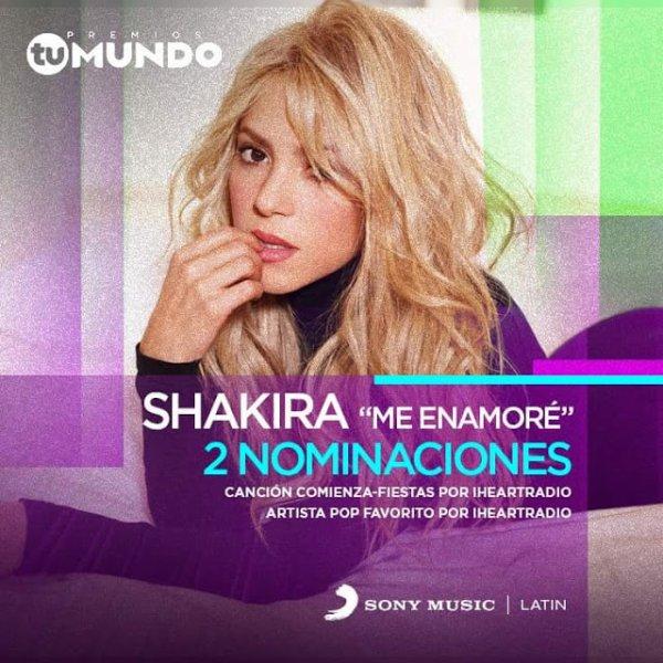 """Shakira est nominée deux fois dans """"Premios Tu Mundo"""" (le 01/08/2017)"""