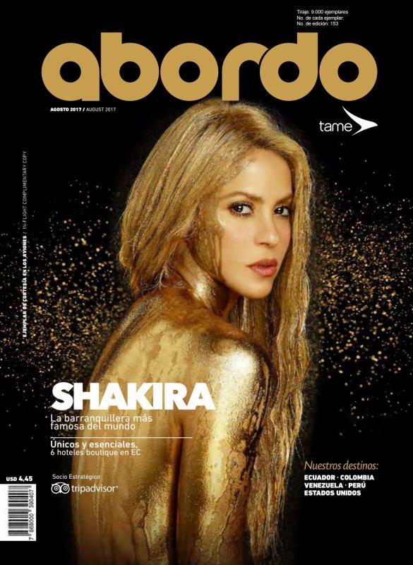 """Shakira sur la couverture du magazine de """"Abordo"""" (le 28/08/2017)"""