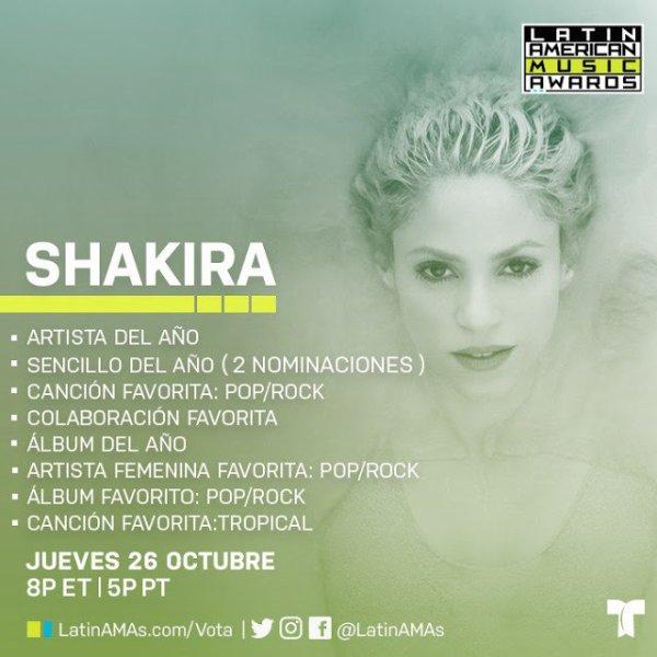 Shakira nommée dans les Latin American Music Awards (le 21/09/2017)