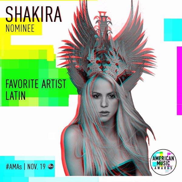 "Shakira nommée aux ""American Music Awards 2017"" (le 13/10/2017)"