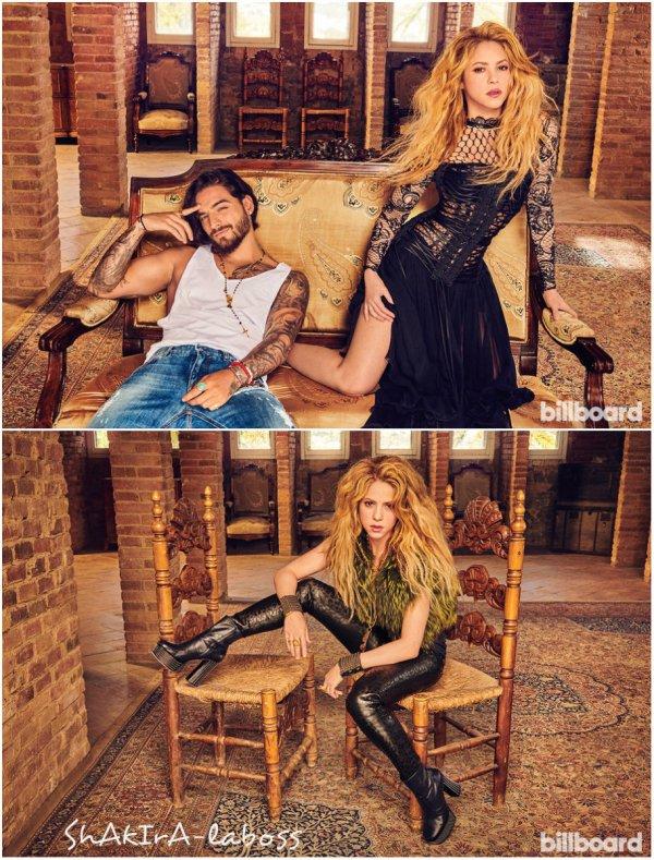 """Shakira et Maluma en couverture pour le magazine """"Billboard"""" (le 19/04/2018)."""