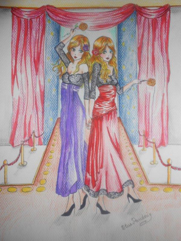 """Dessin pour le concours """"Jumeaux inventés"""" d'Hakuro-Mirai"""