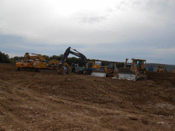 Voici le matériel du chantier à l'arret.