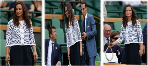 28/06/12: Pippa et James ont assisté au match qui opposait le joueur britannique Andy Murray face au russe Nikolay Davydenko à Wimbledon .ui