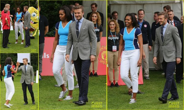 26/07/12 : David Beckam et Michele Obama à Londres