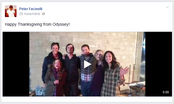 """Facebook : Video Facebook sur le compte de P' et du cast du film """"obyssey"""" pour les fêtes  !"""