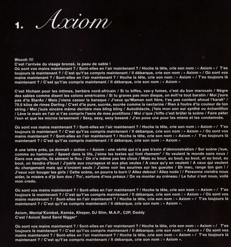 "PAROLES ""Axiom"" de l 'album ""AXIOM "" 2006"