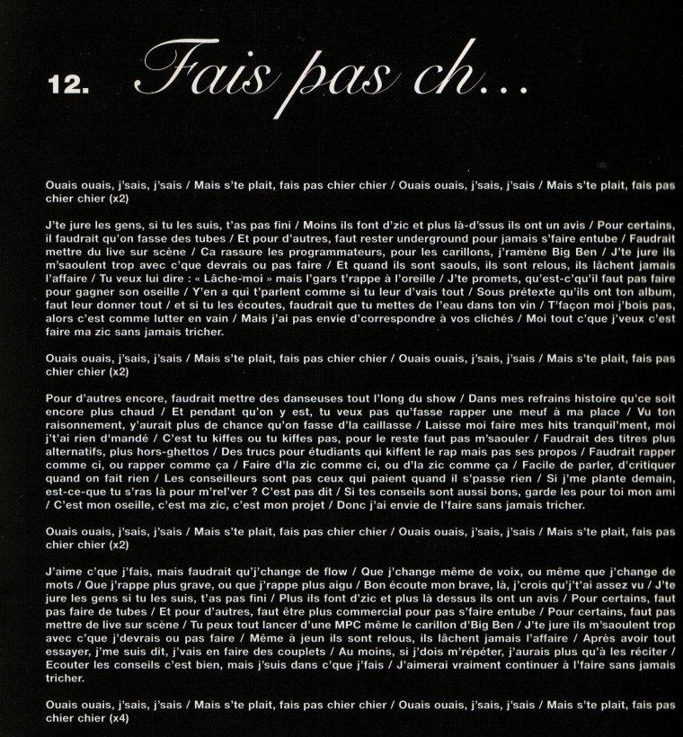 """PAROLES """"Fais pas ch... """"  Album """"AXIOM"""" 2006"""