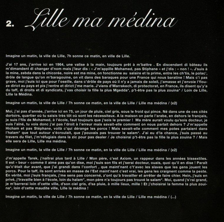 """PAROLES """"Lille ma médina""""Album """"AXIOM"""" 2006"""
