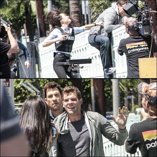 Maggie Q et Dylan McDermott tournage Stalker à Los Angeles