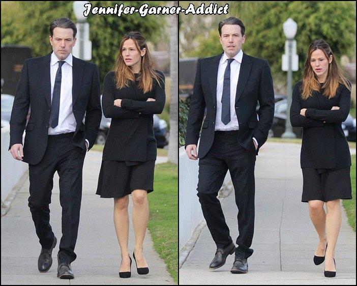 Jen et Ben se rendant aux funérailles de leur ami Sean Whitesell mort le 28 Décembre à 52 ans - le 2 Janvier -