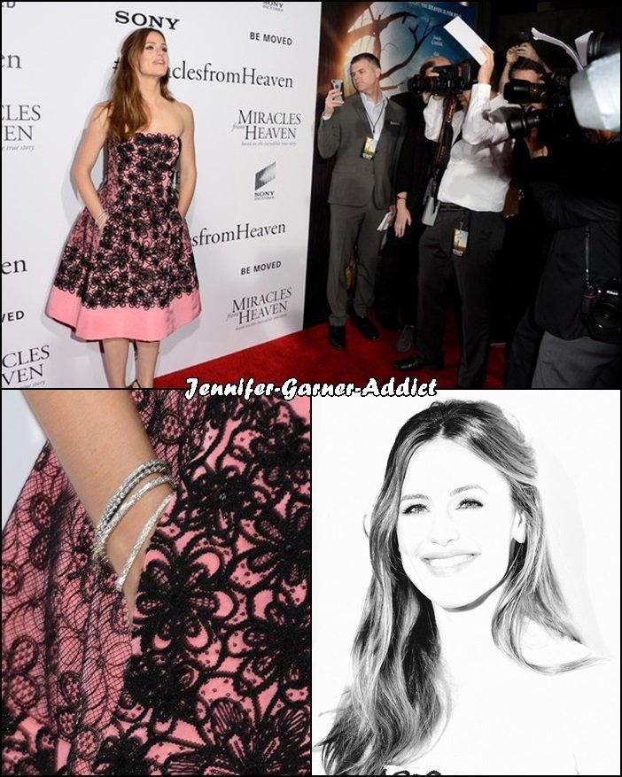Jen à la première de Miracles From Heaven à Los Angeles - le 9 Mars -