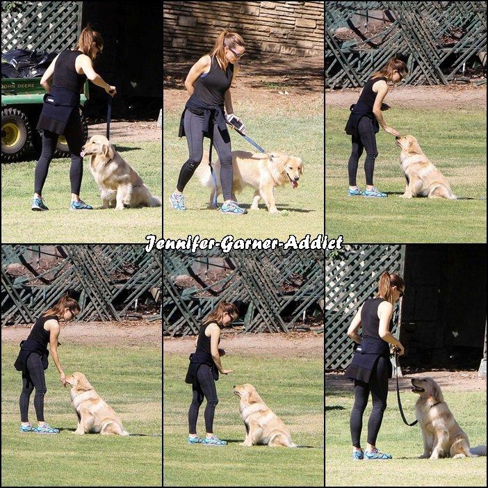 Jen a été au parc avec son chien, a priori pour prendre un cours de dressage