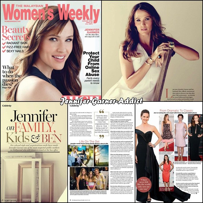 Jen à la Une de The Malaysian Women Weekly - Aout 2016 -