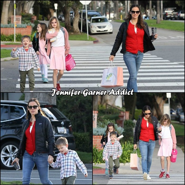 Jen et les enfants ont été aperçus - le 14 Février -