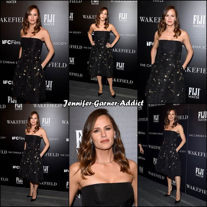 Jen à la soirée organisée par Cinema Society and FIJI Water of IFC Films à New York City pour la promotion du film Wakefield - le 18 Mai -