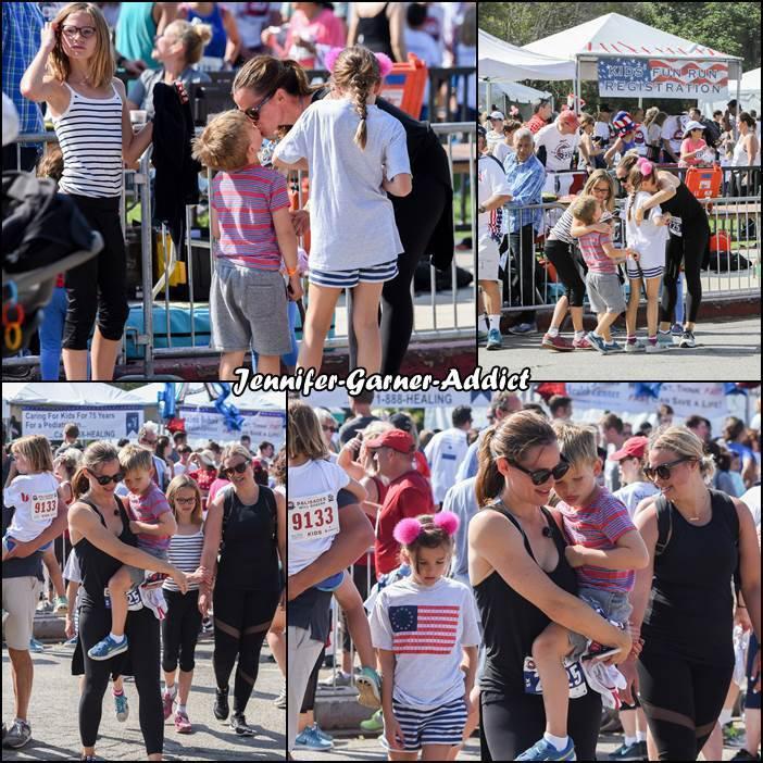 Jen et les enfants ont participé à une course caritative le jour de la fête nationale - le 4 Juillet -