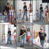 Jen, Violet et Samuel sont allés manger  Au Fudge restaurant à West Hollywood - le 14 Juillet -