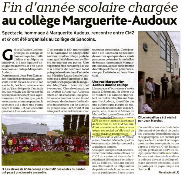 ARTICLE DE L' ECHO DU BERRY