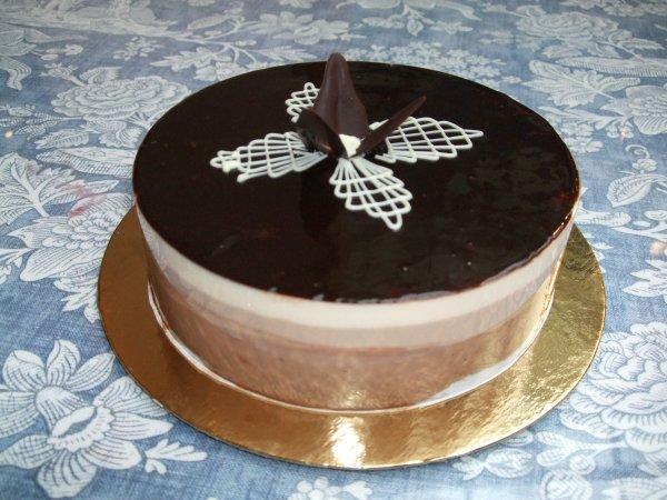 """"""" Bavarois aux Trois Chocolats ( / ! \ ATTENTION : Gâteau à faire la veille pour le lendemain pour qu'il soit encore plus délicieux pour les gourmands ) """""""