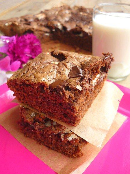 """ Brownies Chocolat Noir & Fluff ( Pâte à Tartiner au Marshmallow ) """