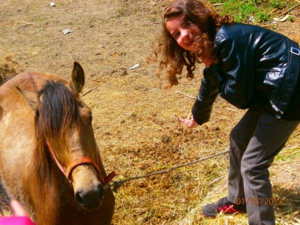 lorena qui parle a l'oreil du cheval mais quelle domage il es sourd lol