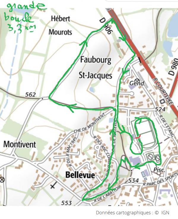 Localisation grande boucle (3.3 km environ) et dénivelé correspondant