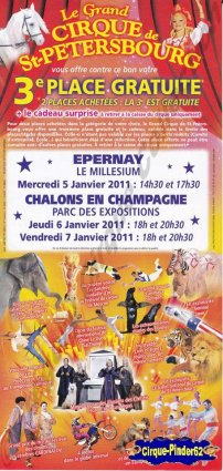Flyer du Grand Cirque de Saint Pétersbourg-2011 (n°66)