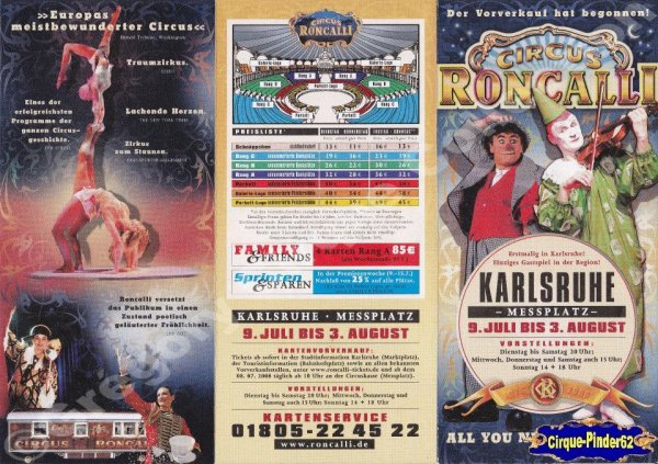Flyer du Cirque Roncalli (Circus Roncalli)-2008 (n°205)