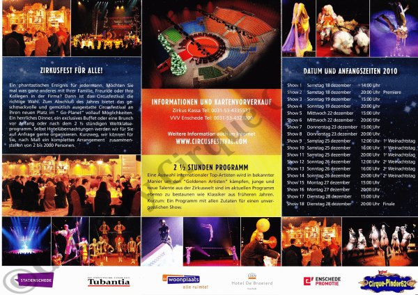 Flyer du Festival International du Cirque d'Enschede-2010 (n°201)