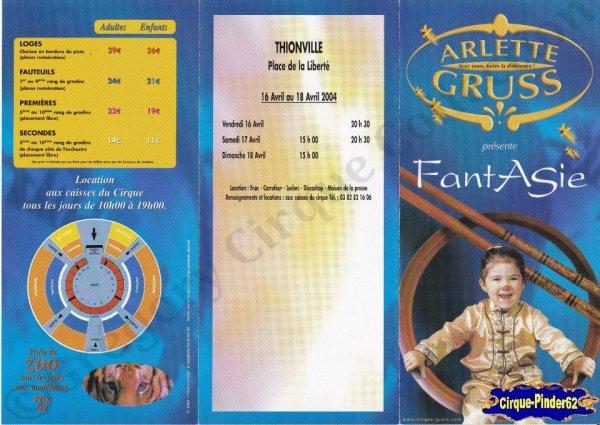 Flyer du Cirque Gruss (Arlette)-2004 (n°222)