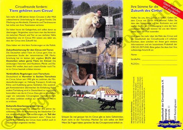 """Flyer du """"Circus auch in Zukunft""""-2011 (n°263)"""
